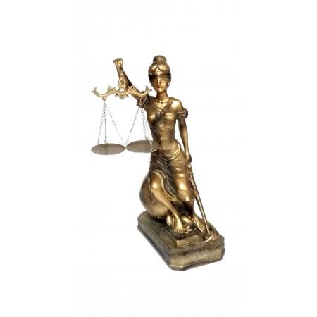 JUSTITIA Gold farbend Figur 34cm runder Sockel Justizia