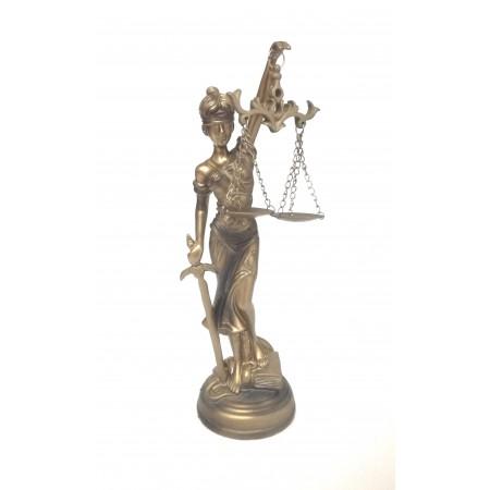 JUSTITIA goldbronze farbend Figur 25cm runder Sockel Justizia