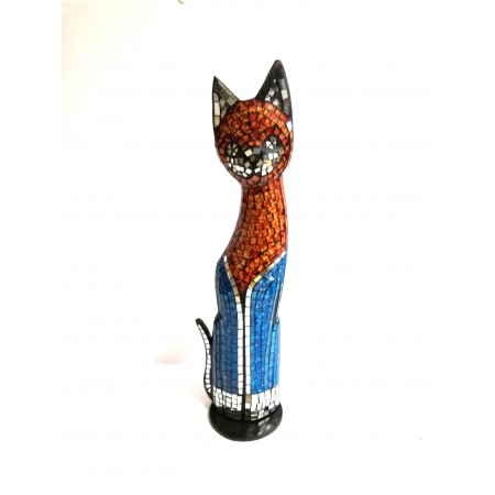 copy of Katzenfigur in Mosaiktechnik Dekofigur Orange/Gelb 50cm Mosaik/Holz