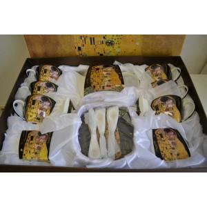Gustav Klimt Set 21teilig Der Kuss schwarz/Gold