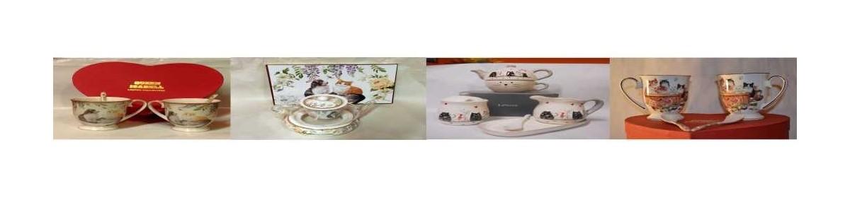 Teetassen und Kaffeetassensets mit Katzenmotiv, Dessertteller und Tortentellersets , Teekannen  von Atelier Harmony Wien
