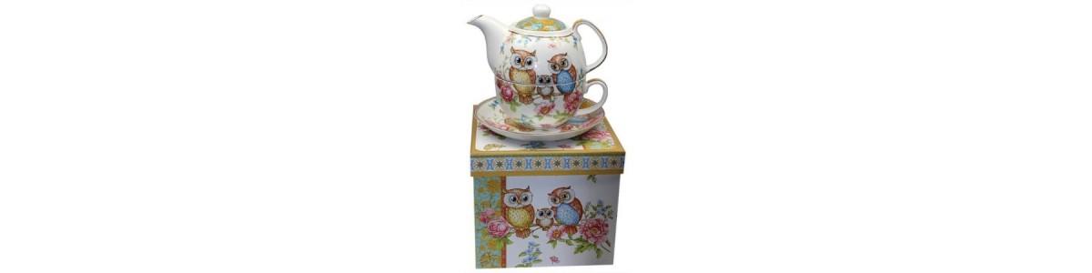 Tea for One, Kaffeekannen udn Teekannen mit Motiv Eulen