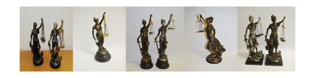 Justitia Figuren bronzefarbe oder silberfarbe aus Kunststein